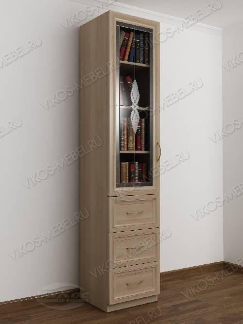 Шкаф для книг пенал с витражом с выдвижными ящиками цвета шимо светлый