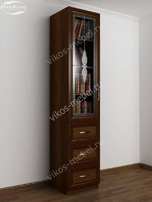 Шкаф для книг пенал с витражом с выдвижными ящиками цвета яблоня