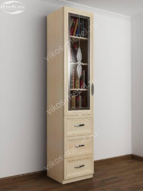 Витражный шкаф для книг пенал с выдвижными ящиками цвета молочный беленый дуб
