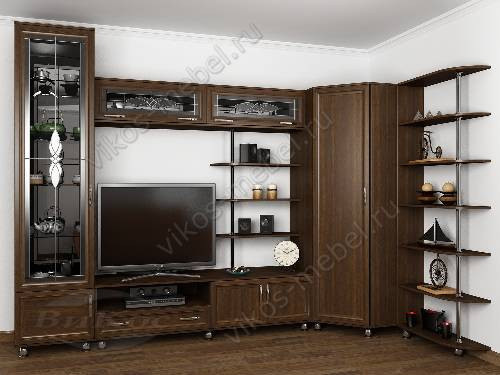 """Угловая мебельная стенка """"фортуна"""" для спальни в классическом стиле цвета венге"""