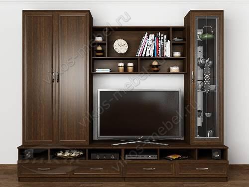 """Классическая мебельная стенка """"валентина-4"""" для спальни с вместительным шкафом цвета венге"""