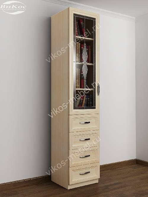 Узкий книжный шкаф со стеклом c витражным стеклом с ящиками для мелочей цвета молочный беленый дуб