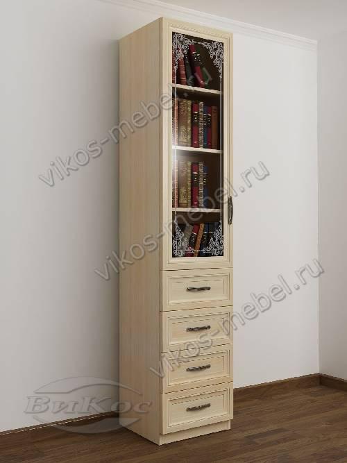 Узкий книжный шкаф со стеклом с пескоструйным зеркалом с ящиками для мелочей цвета молочный беленый дуб