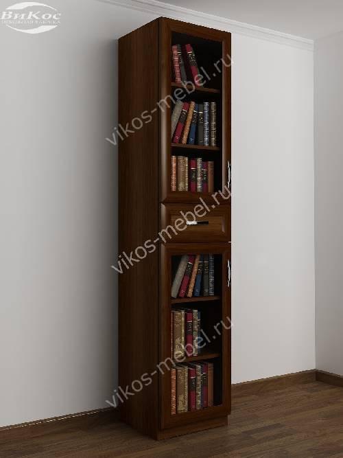 Книжный шкаф со стеклянными дверями с ящиками шириной 40-45 см цвета яблоня