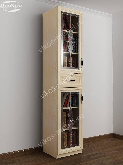 Книжный шкаф со стеклянными дверями c витражным стеклом с ящиками шириной 40-45 см цвета молочный беленый дуб