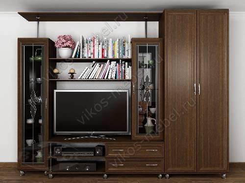 """Стенка """"палермо-5"""" с вместительным шкафом в классическом стиле в спальню цвета венге"""