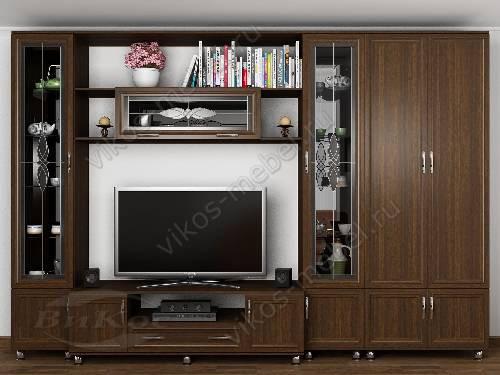 """Мебельная стенка """"палермо-6"""" классика для спальни с вместительным шкафом цвета венге"""