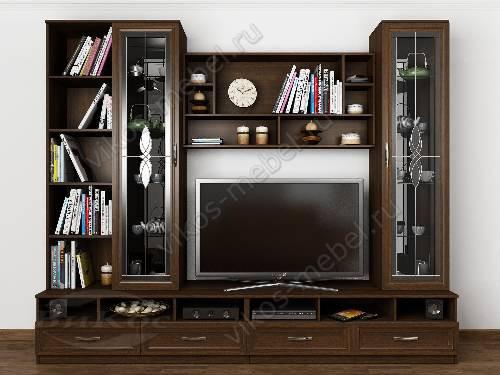 """Мебельная стенка """"валентина-4"""" для спальни под телевизор в классическом стиле цвета венге"""
