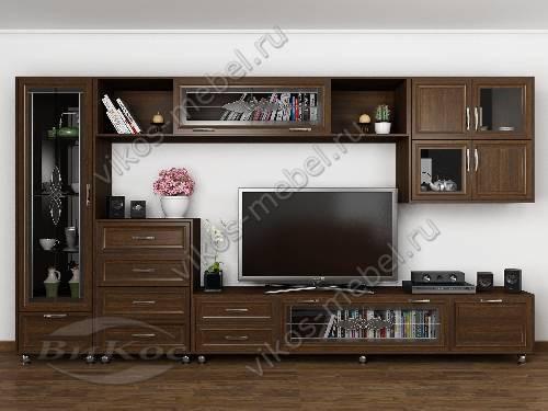 """Модульная мебельная стенка """"шагрэ"""" для спальни в классическом стиле цвета венге"""