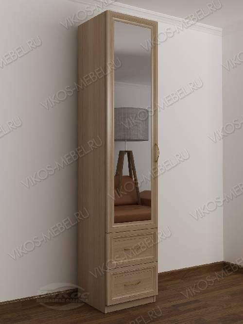 1-дверный зеркальный шкаф в коридор цвета шимо светлый