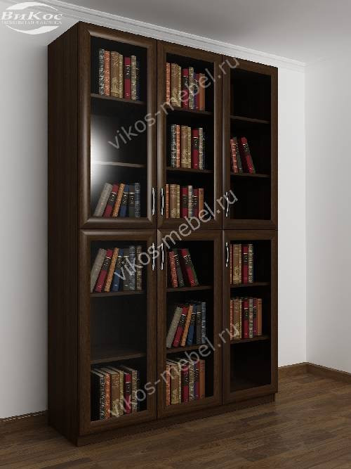 3-дверный шкаф для книг цвета венге