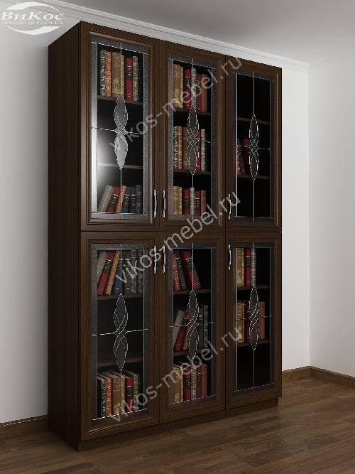 3-дверный витражный шкаф для книг цвета венге