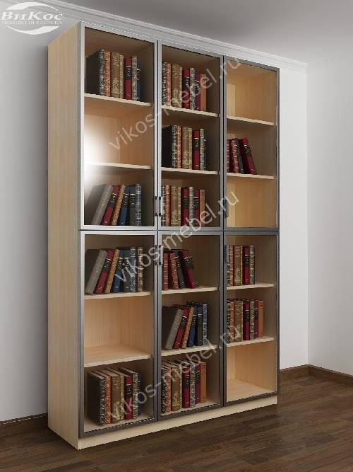 3-дверный шкаф для книг цвета беленый дуб - венге