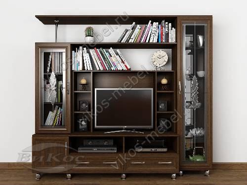 """Мебельная стенка """"фиджи-3"""" для спальни под телевизор в классическом стиле цвета венге"""