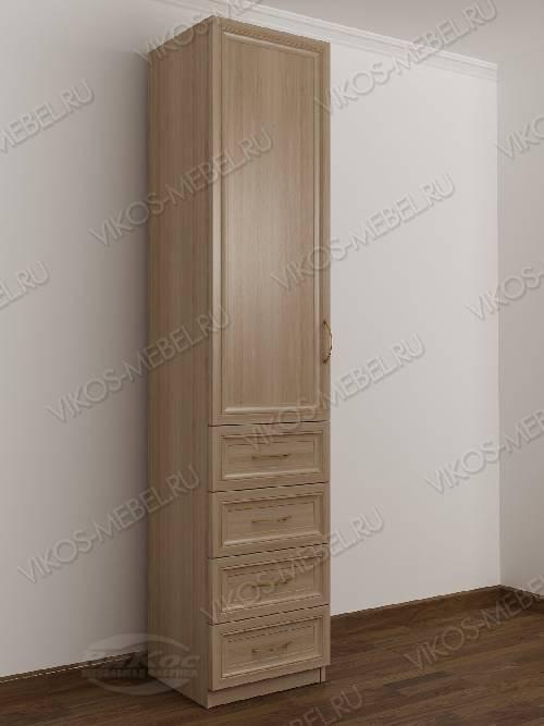 Одностворчатый шкаф для одежды с ящиками в спальню цвета шимо светлый