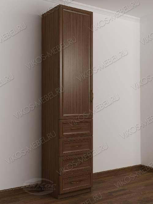 Одностворчатый шкаф для одежды с ящиками в спальню цвета шимо темный