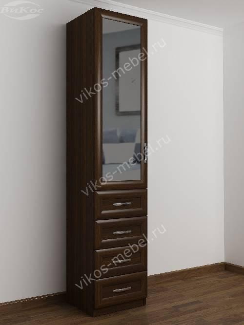Зеркальный одностворчатый шкаф для одежды с ящиками в спальню цвета венге