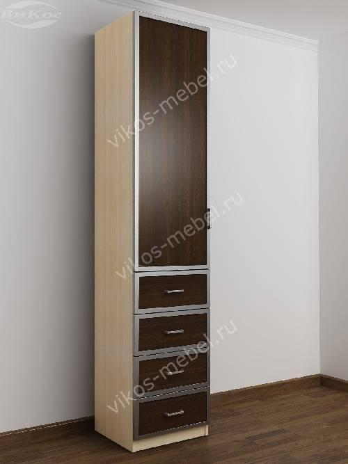 Одностворчатый шкаф для одежды с ящиками в спальню цвета беленый дуб - венге