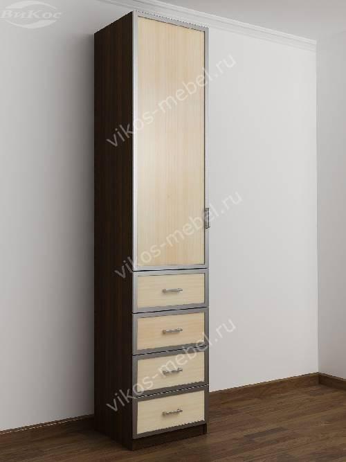 Одностворчатый шкаф для одежды с ящиками в спальню цвета венге - молочный дуб