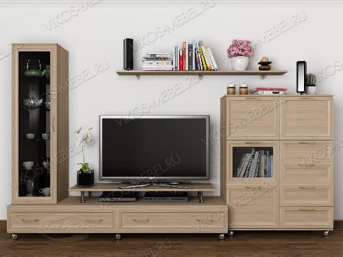 """Длинная модульная мебельная стенка """"тануки 12"""" для спальни в классическом стиле цвета шимо светлый"""