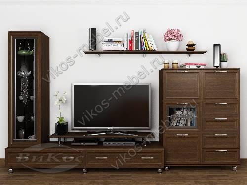 """Длинная классическая модульная мебельная стенка """"тануки 12"""" для спальни цвета венге"""