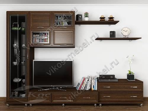 """Мебельная стенка горка """"эллада-5"""" классика для спальни цвета венге"""