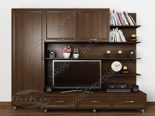 """Классическая мебельная стенка """"нотта"""" для спальни под тв цвета венге"""