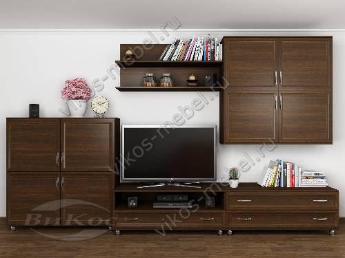 """Длинная модульная мебельная стенка """"доротея-4"""" для спальни в классическом стиле цвета венге"""