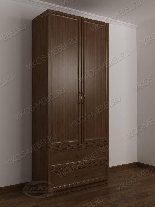 2-дверный шкаф с распашными дверями в прихожую с выдвижными ящиками цвета шимо темный