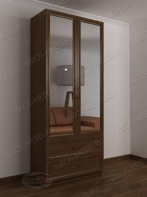 2-дверный шкаф с распашными дверями в прихожую с зеркальной дверью с выдвижными ящиками в классическом стиле цвета шимо темный