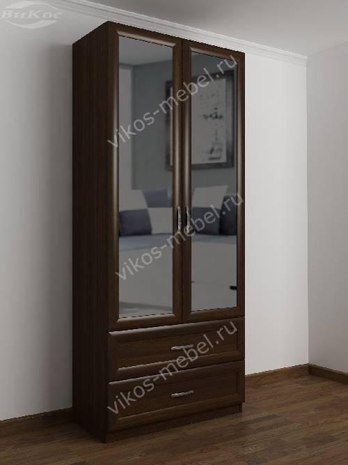2-дверный шкаф с распашными дверями в прихожую с выдвижными ящиками цвета венге