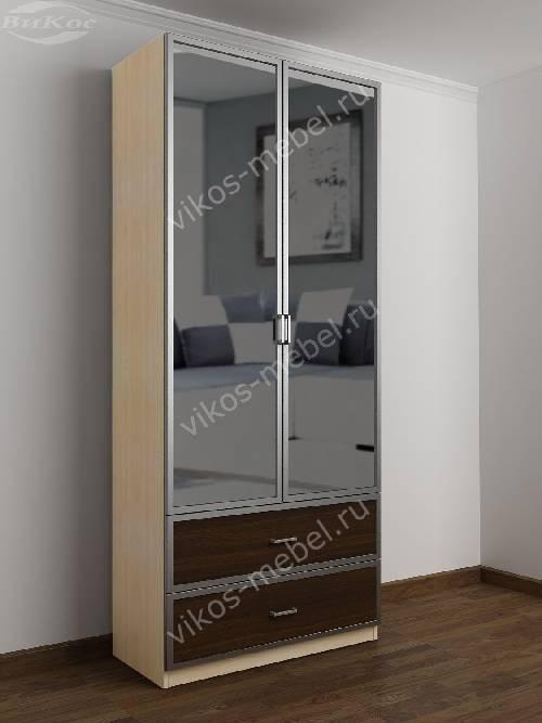 2-дверный шкаф с распашными дверями в прихожую с выдвижными ящиками цвета беленый дуб - венге