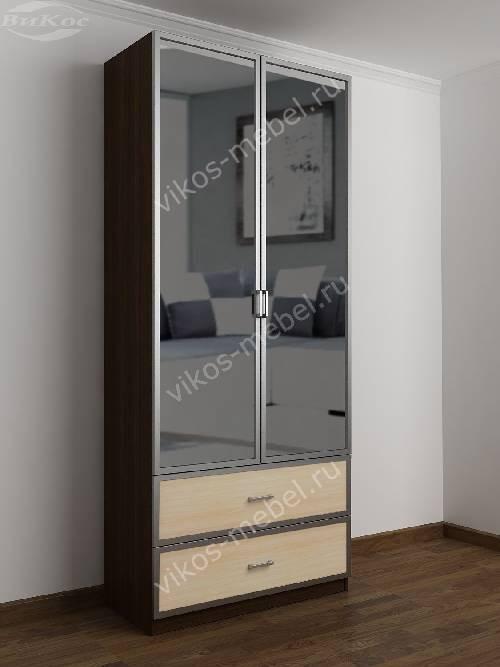 2-дверный шкаф с распашными дверями в прихожую с выдвижными ящиками цвета венге - молочный дуб