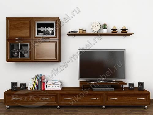 """Длинная модульная мебельная стенка """"тануки 7"""" классика для спальни цвета яблоня"""