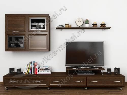 """Длинная классическая модульная мебельная стенка """"тануки 7"""" для спальни цвета венге"""