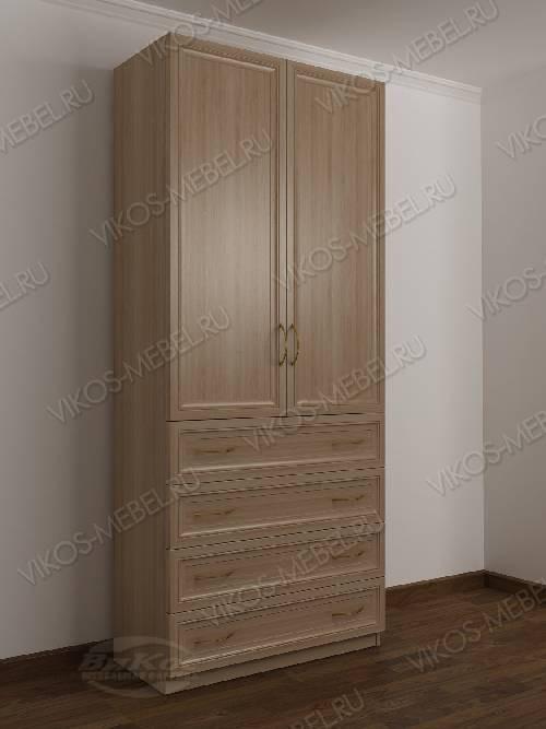 Двухстворчатый платяной шкаф для спальни с ящиками для мелочей цвета шимо светлый