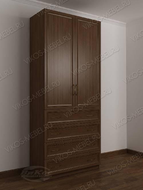 Двухстворчатый платяной шкаф для спальни с ящиками для мелочей цвета шимо темный