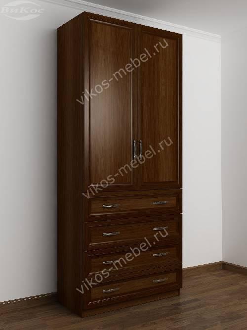 Двухстворчатый платяной шкаф для спальни с ящиками для мелочей цвета яблоня