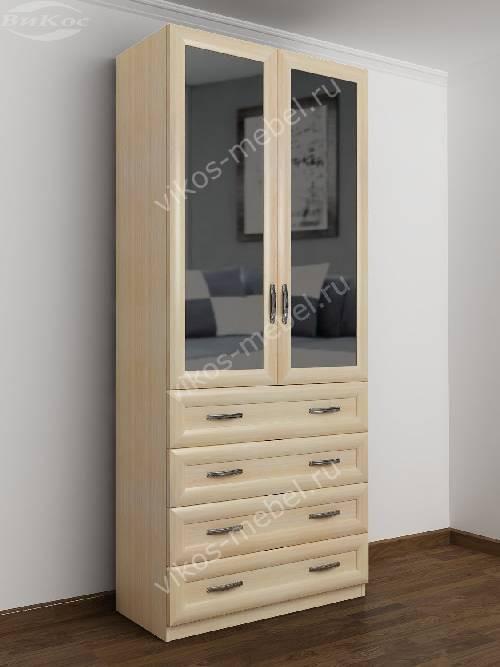 Двухстворчатый платяной шкаф для спальни с ящиками для мелочей цвета молочный беленый дуб
