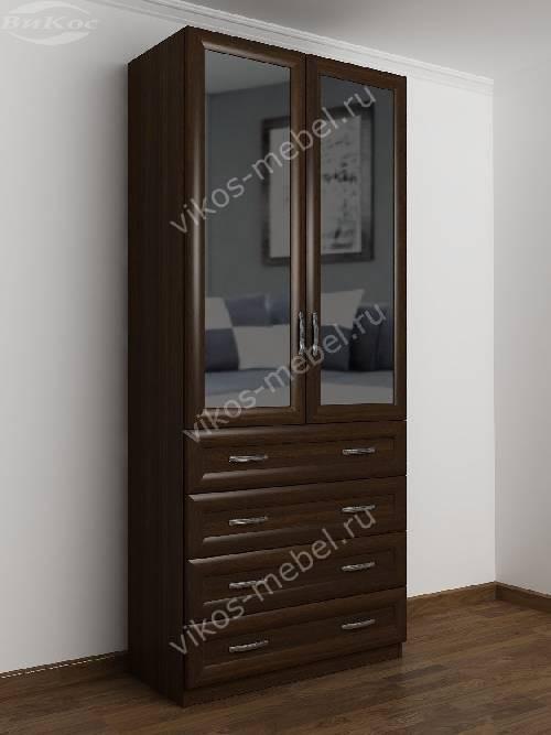 Двухстворчатый платяной шкаф для спальни с ящиками для мелочей цвета венге