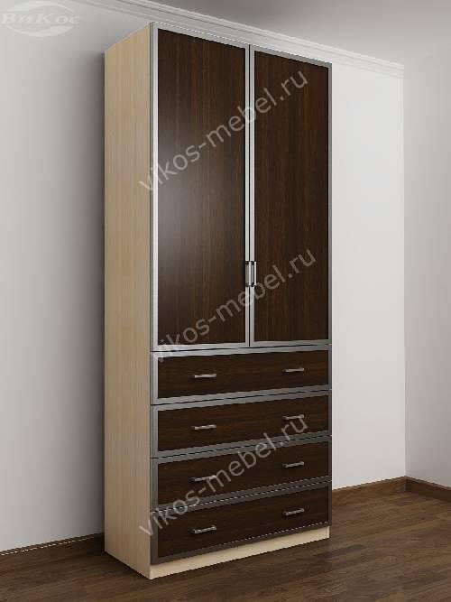 Двухстворчатый платяной шкаф для спальни с ящиками для мелочей цвета беленый дуб - венге