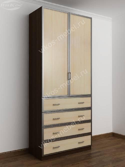 Двухстворчатый платяной шкаф для спальни с ящиками для мелочей цвета венге - молочный дуб