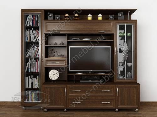 """Мебельная стенка """"борнео 1"""" для спальни мини в классическом стиле цвета венге"""