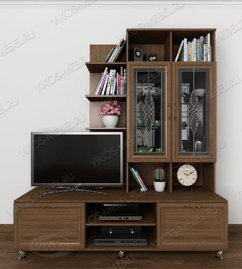 """Высокая мебельная стенка """"рио 3"""" горка классика для спальни c витражным стеклом цвета шимо темный"""