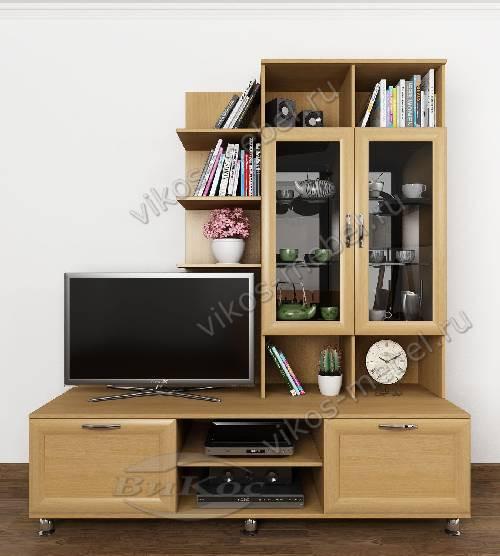 """Высокая классическая мебельная стенка горка """"рио 3"""" для спальни цвета бук"""