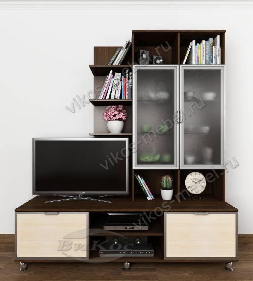 """Высокая современная мебельная стенка горка """"рио 3"""" для спальни цвета венге - молочный дуб"""