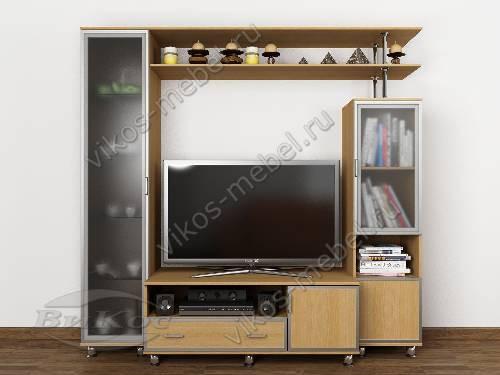 """Высокая мебельная стенка """"аврелия-1"""" для спальни под тв цвета бук"""