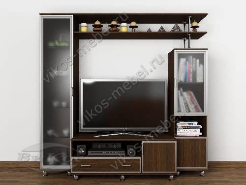 """Высокая мебельная стенка """"аврелия-1"""" для спальни под тв в современном стиле цвета венге"""