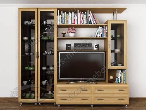 """Мебельная стенка """"аврелия-3"""" для спальни мини цвета бук"""