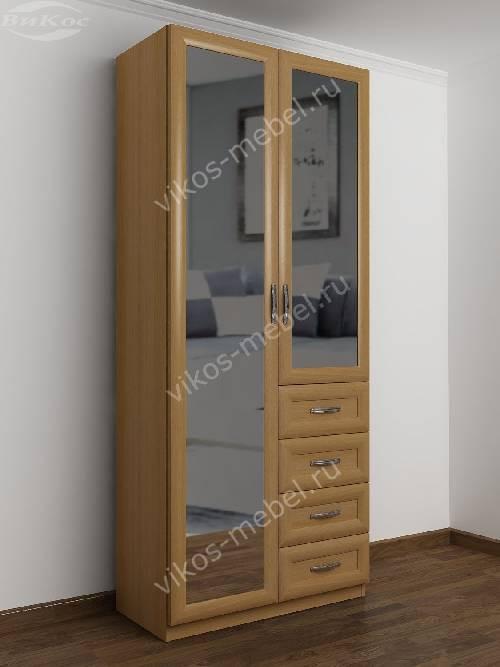 Двухдверный шкаф для одежды и белья с ящиками в спальню цвета бук